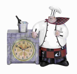 """7""""H Polystone Chef Wall Clock Detailed with Bold Numerals Brand Woodland"""