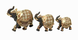 Polystone Elephant with Intricate Detailing - Set of 3 - 69475 by Benzara