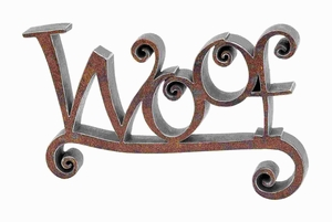 """7""""H Polystone Woof with Chocolate Brown Finish & Silver Backdrop Brand Woodland"""