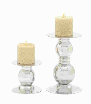 "7""H Sturdy Aluminium Candle Holder with Symmetric Design Brand Woodland"