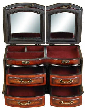 "7"" Mayfair Cherry Jewelry Box with Mirror and Four Drawers Brand Woodland"