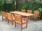7-Piece English Garden Dining Set 1 with Rectangular Extension Table by Vifah