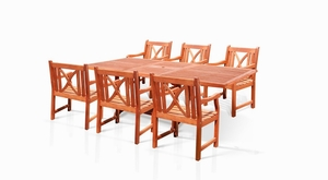 7-Piece Outdoor Eucalyptus Dining Set with Rectangular Table by Vifah