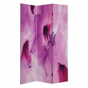 "71"" Beautiful Blossom 3 Panel Screen with Lavender Orchid Print Brand Screen Gem"