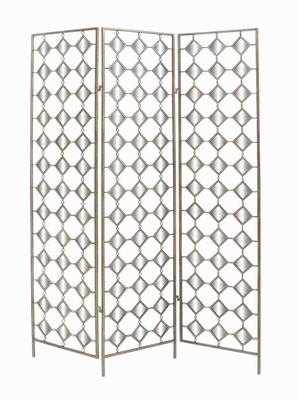 "71"" H Antique Metal Mirror Screen with Simple Dazzling Effect Brand Woodland"