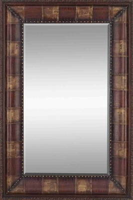 70 INCHES HIGH RECTANGULAR WOOD LEATHER MIRROR - 71945 by Benzara