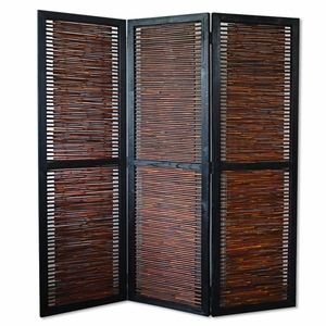 "72"" Contemporary Kailua Bamboo Screen with Wooden Finish Brand Screen Gem"