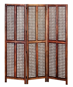 "72"" Elegant Hand Carved Tall Wood Room Divider Screen 3 Panel Brand Woodland"