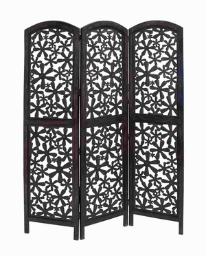 "72"" H Attractive Wood 3 Panel Screen with Intricate Pattern Brand Woodland"
