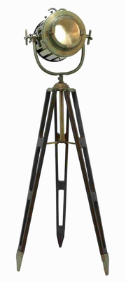 "72""H Metal Wood Tripod Spot Light Metallic Finish with Gold Glaze Brand Woodland"