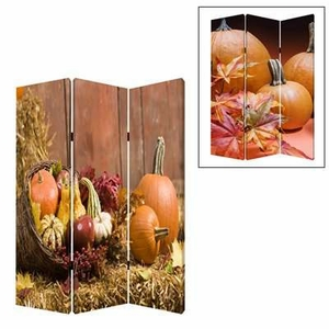 """72"""" Harvest 3 Panel Screen with Complementary Images on Canvas Brand Screen Gem"""