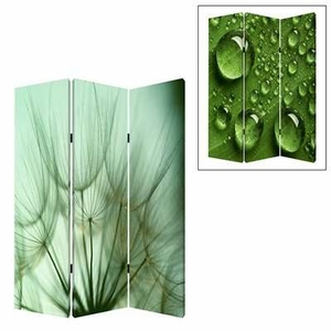 "72"" Rain 3 Panel Screen with Attractive Images on Canvas Brand Screen Gem"