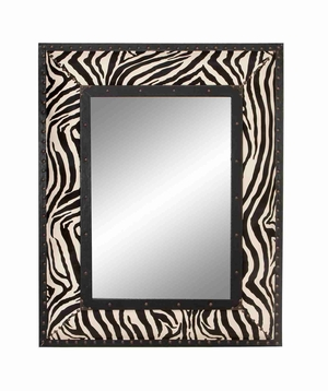 "72007 Wood Leather Mirror 39""H, 31""W- Decor With Zebra Pattern Brand Woodland"