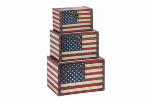 72196 Wood Leather Box S/3 � Get Three Utility Boxes For Shelf Decor Brand Woodland