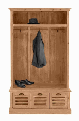 "74""H Wood Coat Cabinet with Two Drawers and a Huge Cabinet Brand Woodland"