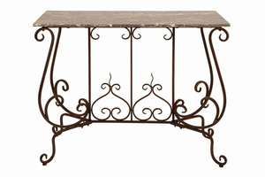 "74384 Metal Marble Console 41""Wx34""H Multipurpose Furniture Addition Brand Woodland"