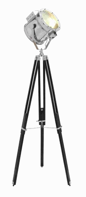 "75""H Metal Wood Spot Light Three Legged Tripod in Metallic Finish Brand Woodland"