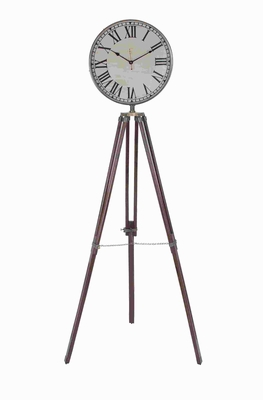 "76""H Unique Wood Metal Floor Clock with Metal Rim Round Dial Brand Woodland"