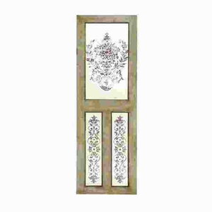 "78""H Simple Designed Wood Mirror Wall Decor with Floral Design Brand Woodland"
