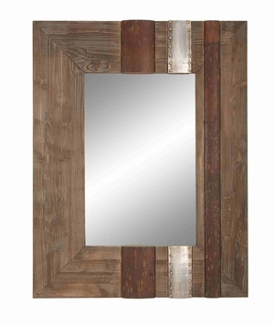 """78344 Wood Mirror 36""""H, 28""""W- Feel Great To See Inside It Brand Woodland"""