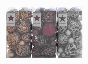"8"" Dried Natural Ball 3 Assorted with Natural Plant Material Brand Woodland"