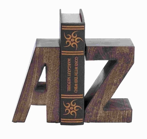 "8""H Attractive Wood Book End Pair with Wood Grain Design Brand Woodland"