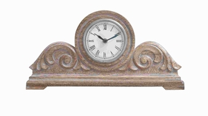 "8"" H Beautiful Wood Carved Clock with Decorative Appeal Brand Woodland"