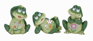 "8""H Casual Frog Decor 3 Assorted Soft Green in Shade & Versatile Brand Woodland"