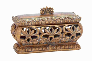 "8""H Classic Sturdy Polystone Pierced Box with Gold Polish Brand Woodland"