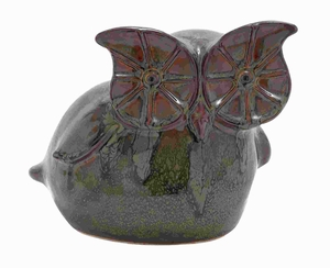 """8"""" H Exotic Ceramic Owl with Glossy Finish and Bright Colors Brand Woodland"""