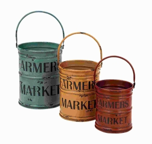 "8""H Metal Basket with a Rich Bold Finish of Colors (Set of 3) Brand Woodland"