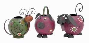 """8""""H Metal Watering Pot 3 Assorted Attractive Animal Shaped Cans Brand Woodland"""