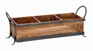 """8""""H Modern Wood Metal Tray with Three Spacious Partitions Brand Woodland"""
