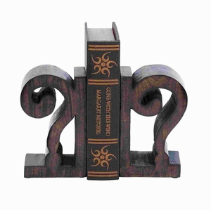 "8""H Unique Design Wood Book End Pair in Rich Brown Finish Brand Woodland"