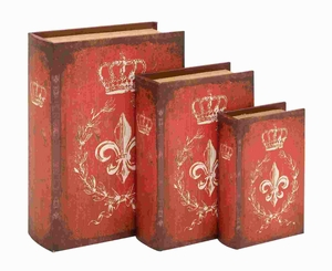"8"" H Unique Wood Book Box with A Bold Red Finish (Set of 3) Brand Woodland"