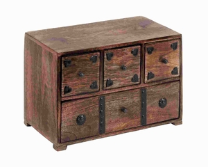 """8"""" H Unique Wood Chest Box Decorated with Metal Stripes Brand Woodland"""