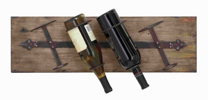 "8""H Unique Wood Metal Wall Wine Rack with Sturdy Wooden Plank Brand Woodland"