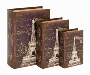 "8""H Wood Book Box in Dark Brown Hue with Robust Design (Set of 3) Brand Woodland"