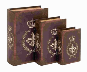 "8""H Wood Book Box in Traditional Style Bound (Set of 3) Brand Woodland"