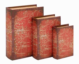 "8"" H Wood Book Box with A Detailed World Map (Set of 3) Brand Woodland"