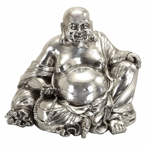 "8"" Silver Laughing Buddha Statue Sculpture Brand Woodland"