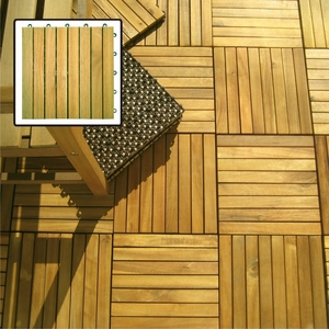 8 Slat Acacia Interlocking Deck Tile (Teak Finish) by Vifah