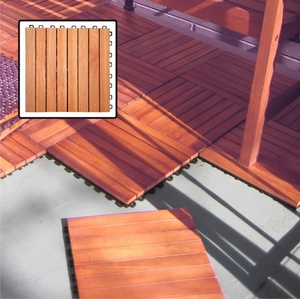 8 Slat Eucalyptus Interlocking Deck Tile by Vifah