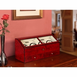 8 Watch Winder with Open and Shut Lid in Red Burl Exterior Brand Nathan