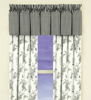 "80"" X 15"" Valance, Dandridge Botanical Stripes Brand C&F"