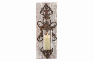 "80974 Wood Metal Sconce 26""H, 10""W- New Concept In  Wall Decor Brand Woodland"