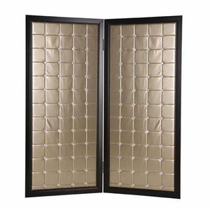 "84"" Beau Monde Screen Designed with Squared Pattern in Gold Brand Screen Gem"