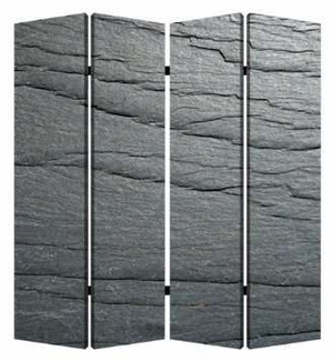 """84"""" Black Slate 4 Panel Screen with Artistic Detailing on Canvas Brand Screen Gem"""