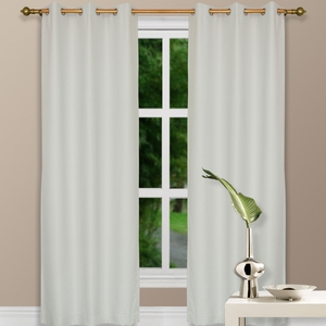 "84"" Ivory Grommet Top Thermal Curtain w/ Blackout Drape & Polyester Fabric by Maifa"