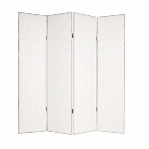 "84"" Milano Screen Crafted with Squared White Leather Pattern Brand Screen Gem"